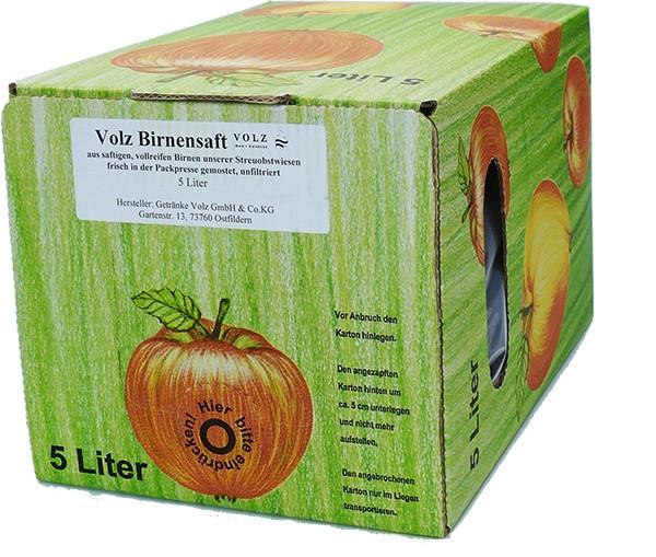 Volz Birnen Direktsaft Bag in Box 5Ltr.